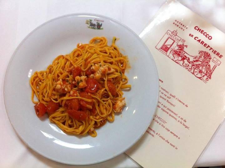 Il menu del ristorante a Trastevere